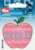 Prym Iron On Embroidered Motif Applique Pink & Blue Apple