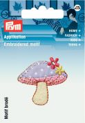 Prym Iron On Embroidered Motif Applique Pink Mushroom With Flowers