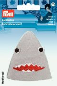 Prym Iron On Embroidered Motif Applique Sharks Head