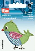 Prym Iron On Embroidered Motif Applique Green Bird