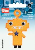 Prym Iron On Embroidered Motif Applique Yellow Monster