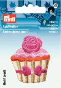 Prym Iron On Embroidered Motif Applique Beige & Pink Cupcake