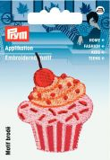 Prym Iron On Embroidered Motif Applique Red & Pink Cupcake