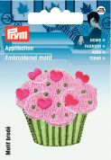 Prym Iron On Embroidered Motif Applique Green & Pink Cupcake