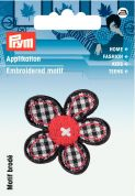 Prym Iron On Embroidered Motif Applique Chequered Flower