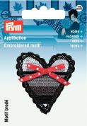 Prym Iron On Embroidered Motif Applique Heart With Bow