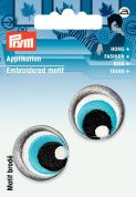 Prym Iron On Embroidered Motif Applique Black, White & Blue Eyes
