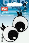 Prym Iron On Embroidered Motif Applique Black & White Eye Lashes