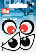 Prym Iron On Embroidered Motif Applique Black, White & Red Eyes