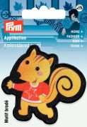 Prym Iron On Embroidered Motif Applique Black & Brown Squirrel