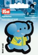 Prym Iron On Embroidered Motif Applique Black & Blue Elephant