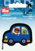 Prym Iron On Embroidered Motif Applique Black & Blue Car