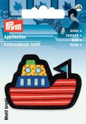 Prym Iron On Embroidered Motif Applique Black & Multicoloured Ship