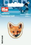 Prym Iron On Embroidered Motif Applique Brown Fox's Face