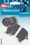 Prym Iron On Embroidered Motif Applique Separable Grey Hippopotamus