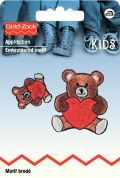 Prym Iron On Embroidered Motif Applique Small & Large Teddy with Hearts