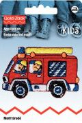 Prym Iron On Embroidered Motif Applique Cartoon Fire engine