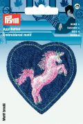 Prym Iron On Embroidered Motif Applique Patch Heart With Unicorn