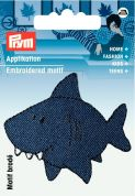 Prym Iron On Embroidered Motif Applique Blue Shark