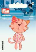 Prym Iron On Embroidered Motif Applique Pale Pink Cat