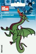 Prym Iron On Embroidered Motif Applique Green Dragon