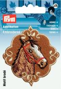 Prym Iron On Embroidered Motif Applique Brown Horse's Head Patch