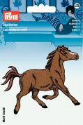 Prym Iron On Embroidered Motif Applique Trotting Brown Horse