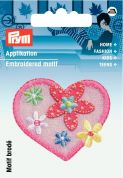 Prym Iron On Embroidered Motif Applique Pink Heart With Flowers
