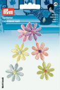 Prym Iron On Embroidered Motif Applique Pastel Coloured Flower Tendril