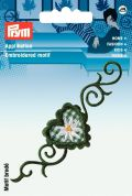 Prym Iron On Embroidered Motif Applique Green Flower Tendril