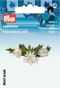 Prym Iron On Embroidered Motif Applique Small Edelweiss Tendril