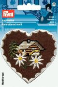 Prym Iron On Embroidered Motif Applique House & Edelweiss Heart Patch
