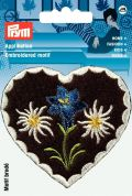Prym Iron On Embroidered Motif Applique Edelweiss & Gentian Heart Patch