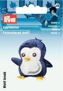 Prym Iron On Embroidered Motif Applique Blue Penguin