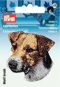 Prym Iron On Embroidered Motif Applique Jack Russell Head