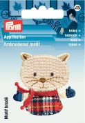 Prym Iron On Embroidered Motif Applique Beige Checkered Mouse