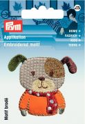 Prym Iron On Embroidered Motif Applique Brown & Orange Dog