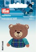 Prym Iron On Embroidered Motif Applique Checkered Teddy bear