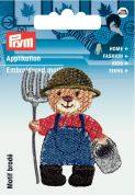 Prym Iron On Embroidered Motif Applique Gardening Bear