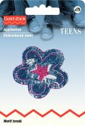 Prym Iron On Embroidered Motif Applique Purple Flower for Jeans