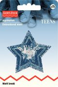 Prym Iron On Embroidered Motif Applique Silver Star for Jeans