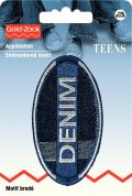 Prym Iron On Embroidered Jeans Label Motif Oval Denim