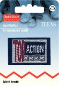 Prym Iron On Embroidered Jeans Label Motif Top Action