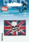 Prym Iron On Embroidered Applique Patch Flag Of England With Skull