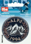 Prym Iron On Embroidered Applique Patch Round Alps 1994