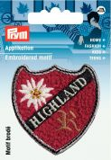Prym Iron On Embroidered Applique Patch Highland W. Edelweiss