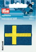 Prym Iron On Embroidered Motif Applique Sweden Flag