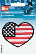 Prym Iron On Embroidered Motif Applique Heart Shape American Flag