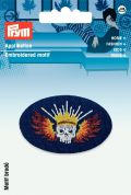 Prym Iron On Embroidered Applique Patch Skull With Crown