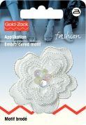 Prym Iron On Embroidered Motif Applique White Organza Flower With Sequins